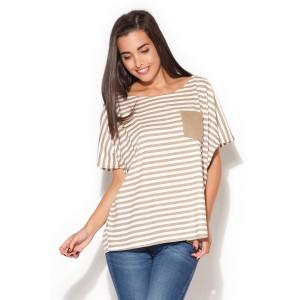 Dámské letní tričko bíle s béžovými pruhy