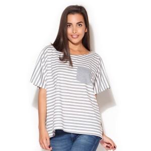 Bílé tričko dámské s šedými pruhy