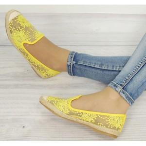 Stylové dámské espadrilky žluté barvy