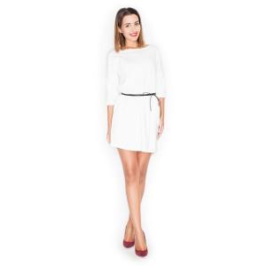 Letní dámské šaty v bílé barvě s páskem