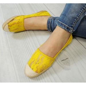 Žluté dámské espadrilky s pletenou špičkou