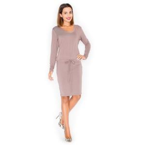 Krásné dámské letní šaty v hnědé barvě s dlouhým rukávem