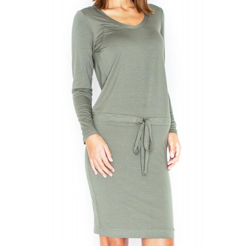 e50a50eb376b Zelené dámské pohodlné šaty s dlouhým rukávem - manozo.cz
