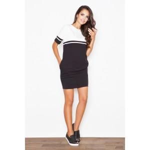 Dámské exkluzivní šaty sportovní černobílé s kapsami