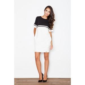 Dámské bílo černé sportovní šaty s kapsami