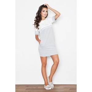 Šaty dámské sportovní šedě bílé s kapsami