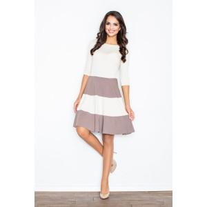 Dámské šaty v bílé barvě s kakaovými pásy a 3/4 rukávem