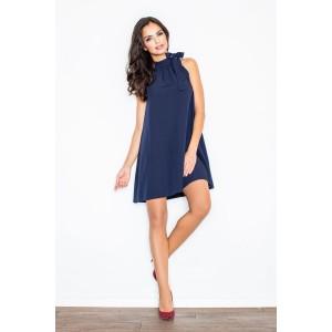 Dámské večerní šaty v tmavě modré barvě s vázáním kolem krku
