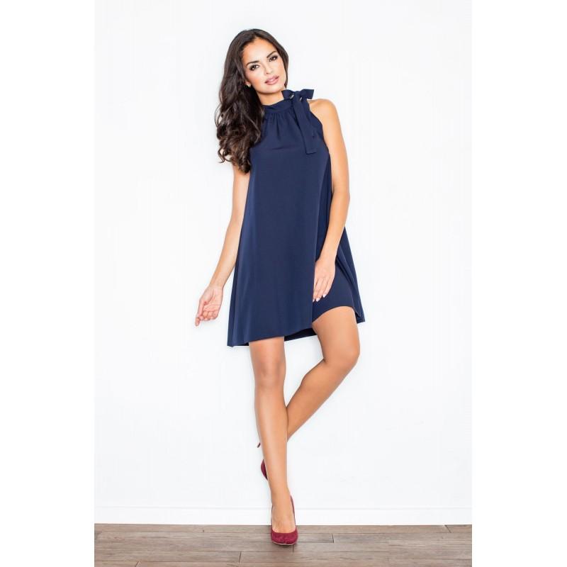 97b8cdf6222 DÁMSKÁ MÓDA Dámské večerní šaty v tmavě modré barvě s vázáním kolem krku.  Předchozí