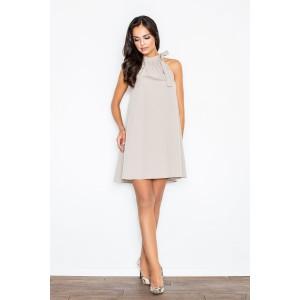 Společenské dámské šaty béžové barvy s vázáním kolem krku