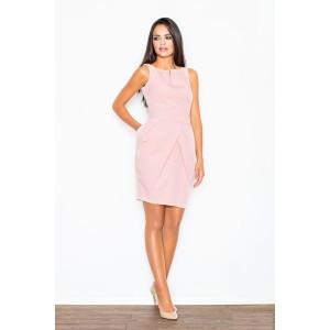 Slabě růžové elegantní dámské pouzdrové šaty nad kolena