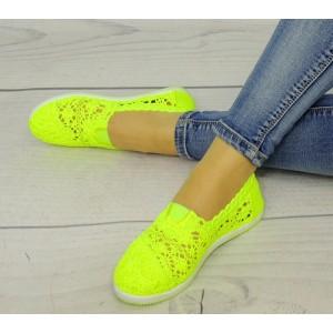 Espadrilky pro dámy na léto neonově žluté barvy