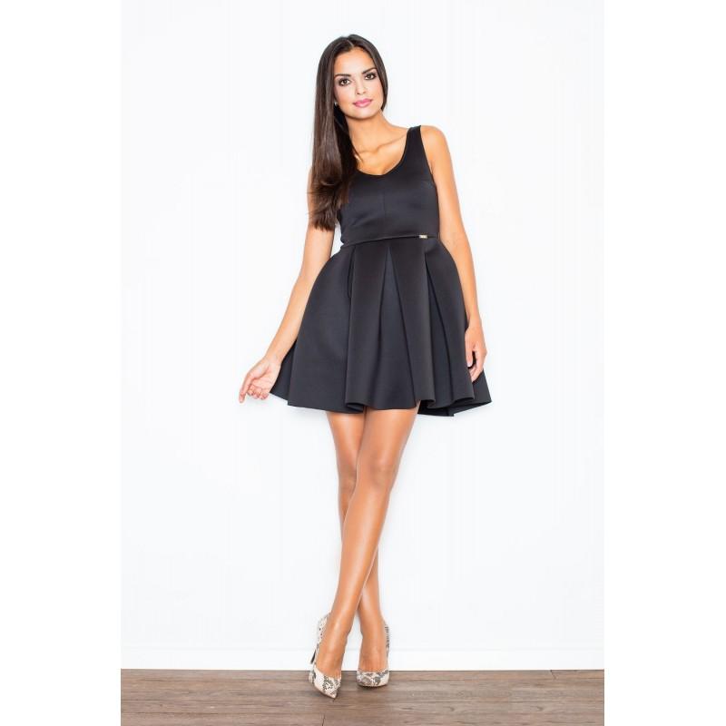 840a42cb9d57 Luxusní dámské černé šaty áčkového střihu - manozo.cz