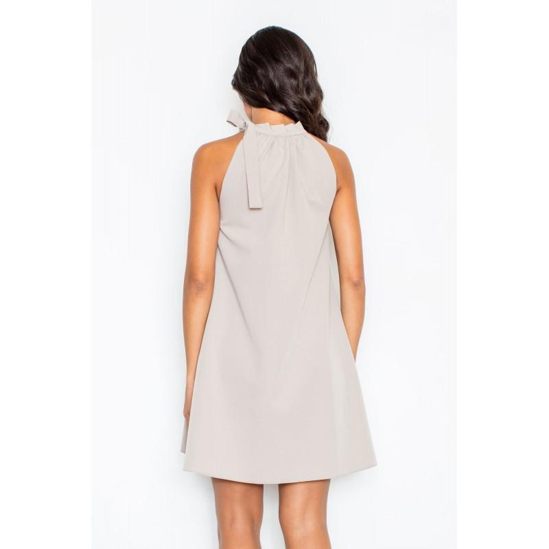 a7ce8f116b0 Společenské dámské šaty béžové barvy s vázáním kolem krku  Společenské  dámské šaty béžové ...