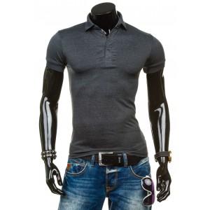 Tmavošedé tričko pro pány s límcem