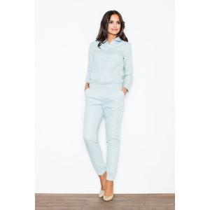 Elegantní džínový overal v slabě modré barvě
