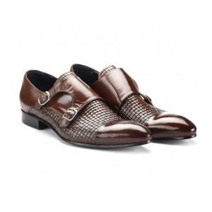 Pánské kožené extravagantní boty tmavohnědé barvy COMODO E SANO