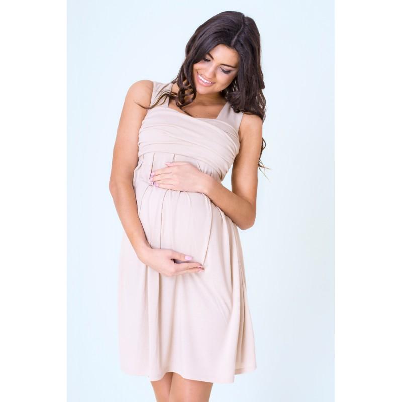 aada4514f87 ... móda Těhotenské šaty letní béžové barvy. Předchozí