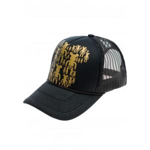 Kšiltovky pánské černé barvy skate se zlatým motivem