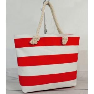 Dámská plážová taška bílo červené barvy