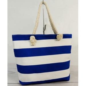 Letní plážová taška s modře bílými pruhy