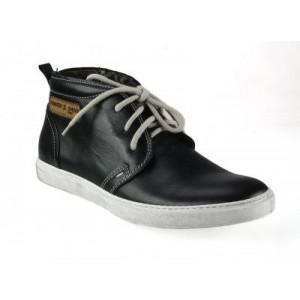 Pánské kožené boty lesklé černé