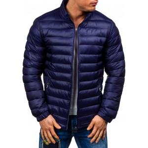 Tmavě modrá podzimní bunda pánská pruhovaná