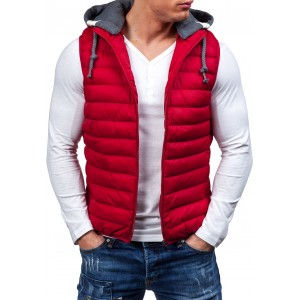 Stylová vesta pro pány v červené barvě s šedou kapucí