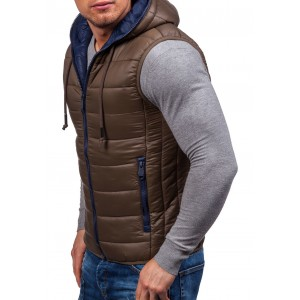 Hnědé pánské vesty s kapucí