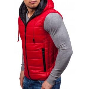 Červená pánská vesta s kapsami a kapucí