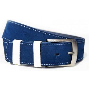 Pánský pásek tmavě modré barvy s bílým prošíváním