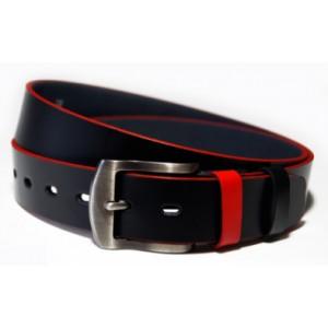 Černé pásky pánské s červeným lemováním