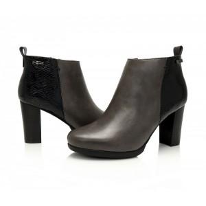 Šedá kotníková přechodná obuv pro dámy s černým vzorem na patě
