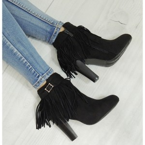 Elegantní kotníkové boty v černé barvě semišové