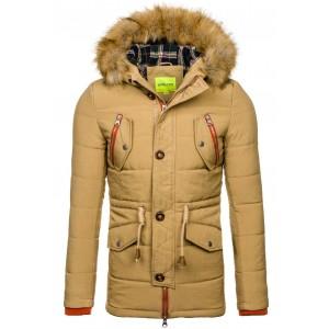 Pánská zimní bunda v khaki barvě s kapucí a kožešinou