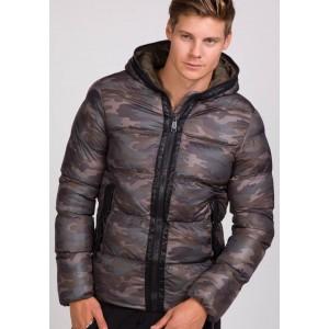 Stylová ARMY pánská zimní bunda s podšívkou a kapucí