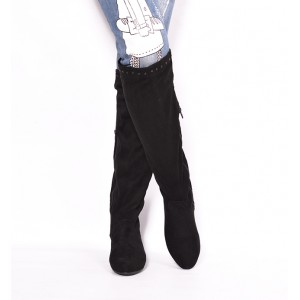 Dámské zimní kozačky černé na nízkém podpatku