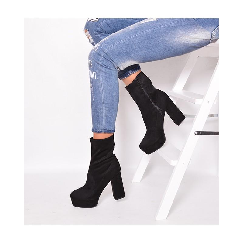 ... obuv Moderní černé kotníkové boty dámské na podpatku. Předchozí fe68930d5a