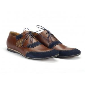 Sportovní pánské kožené boty hnědé s modrými nášivkami