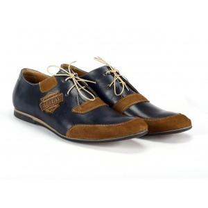 Pánské kožené sportovní boty tmavě modré barvy s hnědými nášivkami