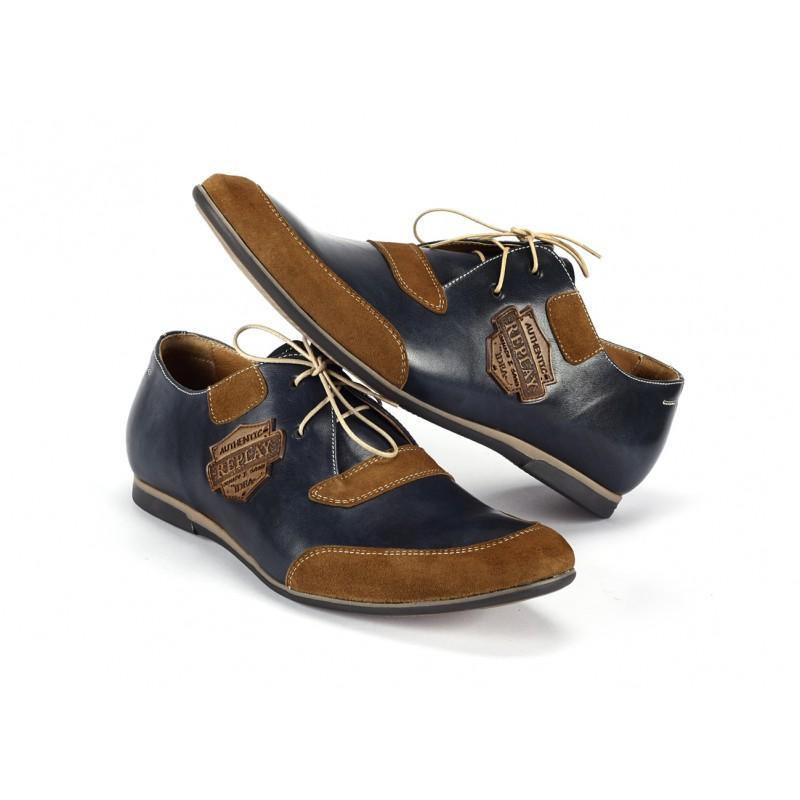 972e4733c94 Pánské kožené sportovní boty tmavě modré barvy s hnědými nášivkami ...