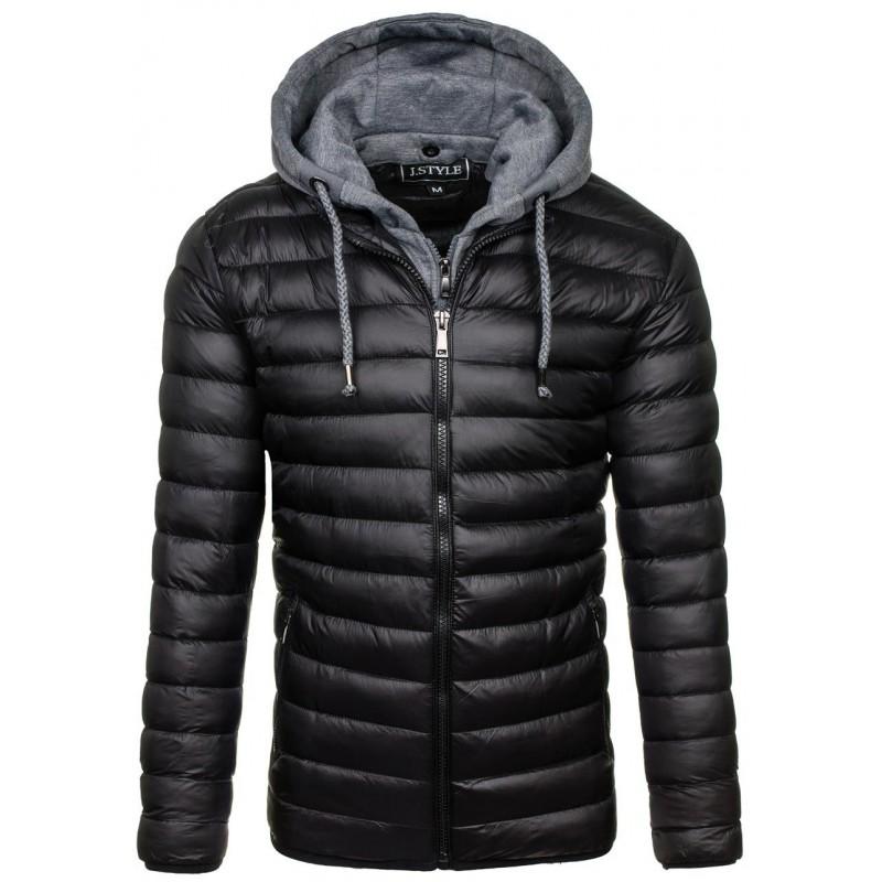 45ea4ceaab Zateplená zimní pánská bunda s kapucí černé barvy - manozo.cz