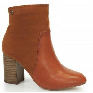 Zimní dámské kotníkové boty hnědé barvy na podpatku