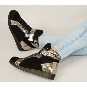 Zimní dámské kotníkové boty na platformě v černé barvě