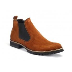 Pánské stylové kožené boty hnědé barvy