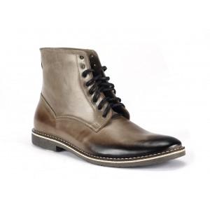 Vysoké pánské kožené boty COMODO E SANO béžové barvy