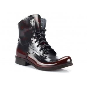 Vínové pánské vysoké kožené boty COMODO E SANO