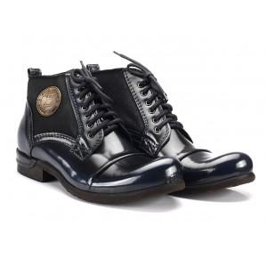Kotníkové tmavě modré kožené boty COMODO E SANO