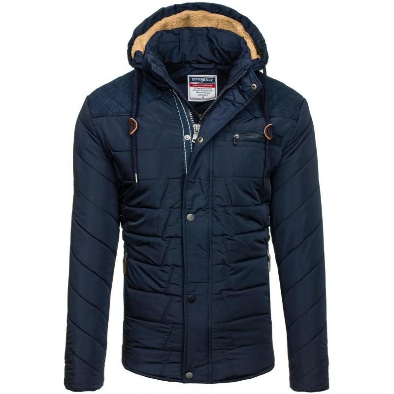 Pánská zimní bunda v tmavě modré barvě s knoflíky - manozo.cz 09b3e86b0d8