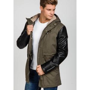 Stylová pánská khaki bunda s koženými rukávy